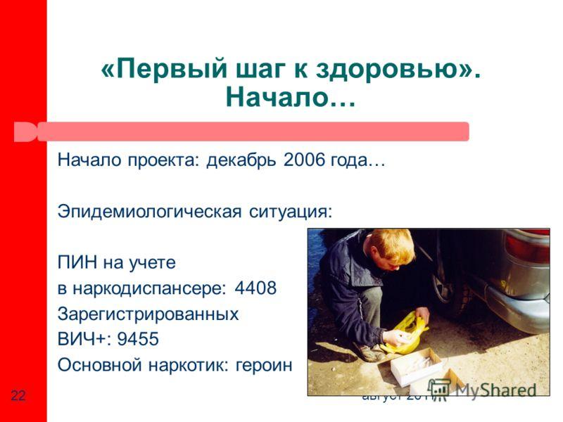 август 2011 22 «Первый шаг к здоровью». Начало… Начало проекта: декабрь 2006 года… Эпидемиологическая ситуация: ПИН на учете в наркодиспансере: 4408 Зарегистрированных ВИЧ+: 9455 Основной наркотик: героин