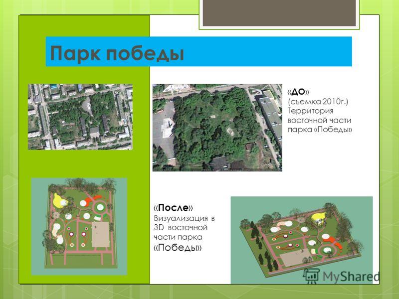 Парк победы « ДО » (съемка 2010г.) Территория восточной части парка «Победы» « После » Визуализация в 3D восточной части парка «Победы»