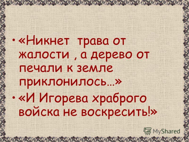 «Никнет трава от жалости, а дерево от печали к земле приклонилось…» «И Игорева храброго войска не воскресить!»