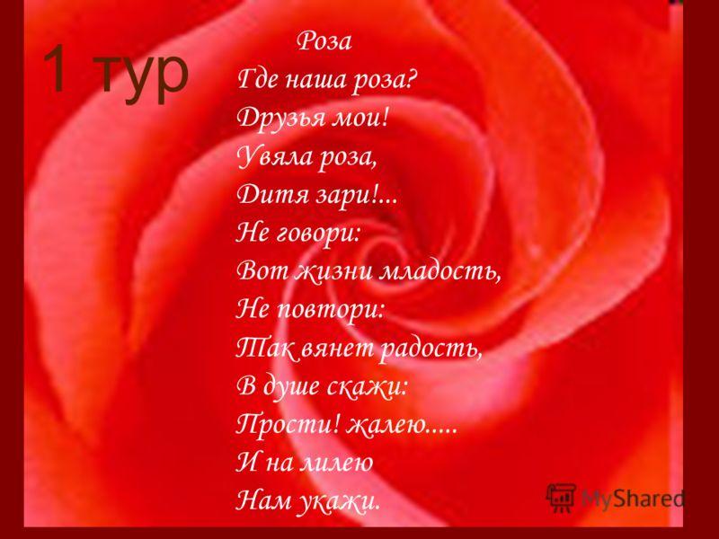 1 тур Роза Где наша роза? Друзья мои! Увяла роза, Дитя зари!... Не говори: Вот жизни младость, Не повтори: Так вянет радость, В душе скажи: Прости! жалею..... И на лилею Нам укажи.