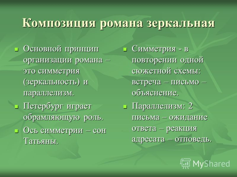 Композиция романа зеркальная Основной принцип организации романа – это симметрия (зеркальность) и параллелизм. Основной принцип организации романа – это симметрия (зеркальность) и параллелизм. Петербург играет обрамляющую роль. Петербург играет обрам