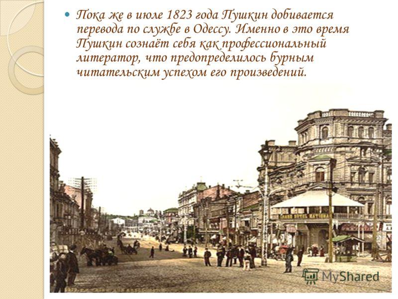 Пока же в июле 1823 года Пушкин добивается перевода по службе в Одессу. Именно в это время Пушкин сознаёт себя как профессиональный литератор, что предопределилось бурным читательским успехом его произведений.