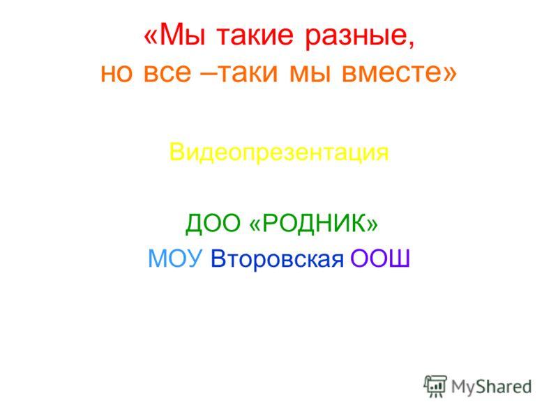 «Мы такие разные, но все –таки мы вместе» Видеопрезентация ДОО «РОДНИК» МОУ Второвская ООШ