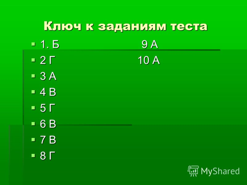 Ключ к заданиям теста 1. Б 9 А 1. Б 9 А 2 Г 10 А 2 Г 10 А 3 А 3 А 4 В 4 В 5 Г 5 Г 6 В 6 В 7 В 7 В 8 Г 8 Г