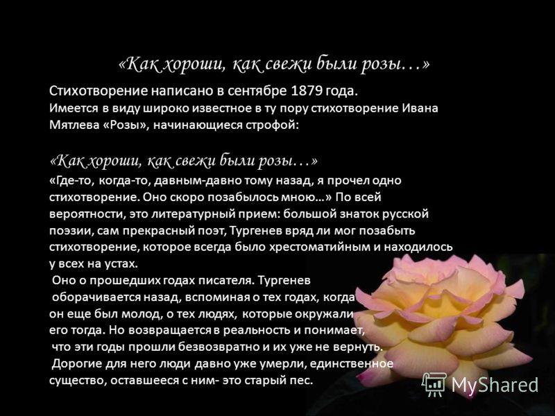 «Как хороши, как свежи были розы…» Стихотворение написано в сентябре 1879 года. Имеется в виду широко известное в ту пору стихотворение Ивана Мятлева «Розы», начинающиеся строфой: «Как хороши, как свежи были розы…» «Где-то, когда-то, давным-давно том