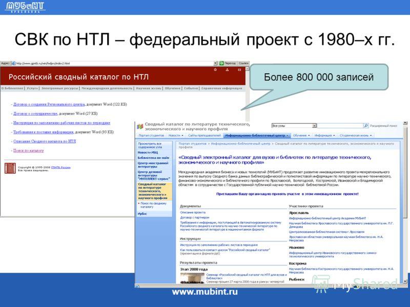 www.mubint.ru СВК по НТЛ – федеральный проект с 1980–х гг. Более 800 000 записей
