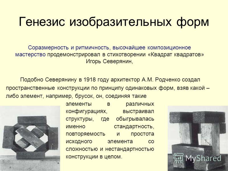 Генезис изобразительных форм Подобно Северянину в 1918 году архитектор А.М. Родченко создал пространственные конструкции по принципу одинаковых форм, взяв какой – либо элемент, например, брусок, он, соединяя такие элементы в различных конфигурациях,
