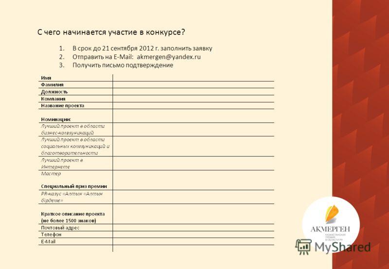 С чего начинается участие в конкурсе? 1.В срок до 21 сентября 2012 г. заполнить заявку 2.Отправить на E-Mail: akmergen@yandex.ru 3.Получить письмо подтверждение