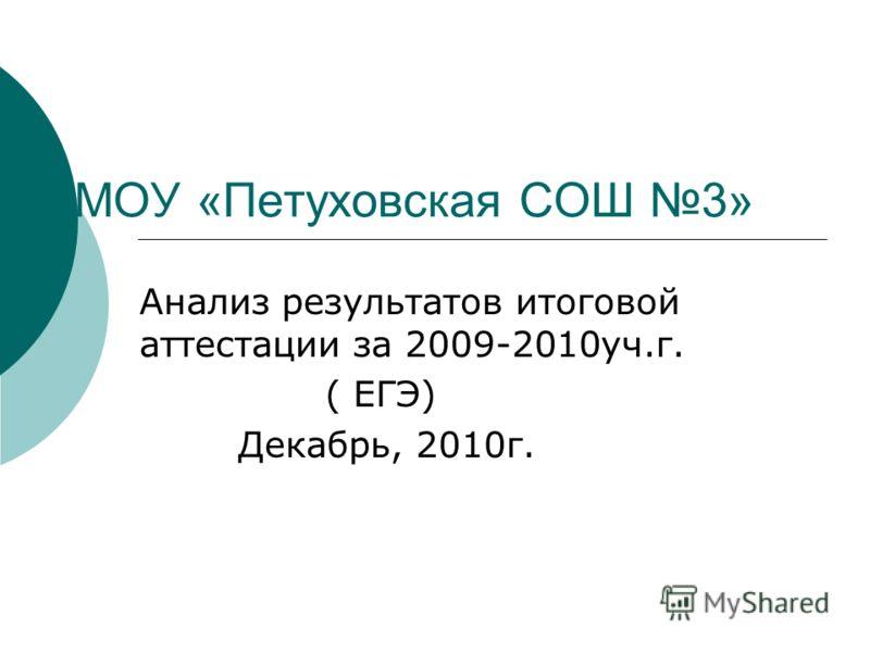МОУ «Петуховская СОШ 3» Анализ результатов итоговой аттестации за 2009-2010уч.г. ( ЕГЭ) Декабрь, 2010г.