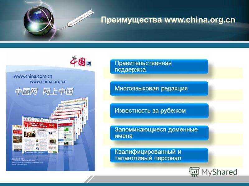 Преимущества www.china.org.cn Правительственная поддержка Многоязыковая редакцияИзвестность за рубежом Запоминающиеся доменные имена Квалифицированный и талантливый персонал