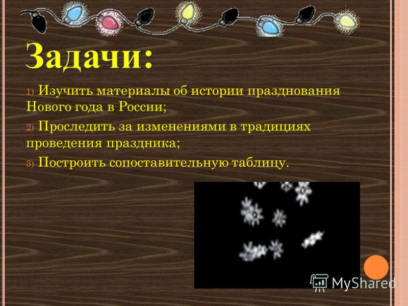 1) Изучить материалы об истории празднования Нового года в России; 2) Проследить за изменениями в традициях проведения праздника; 3) Построить сопоставительную таблицу.