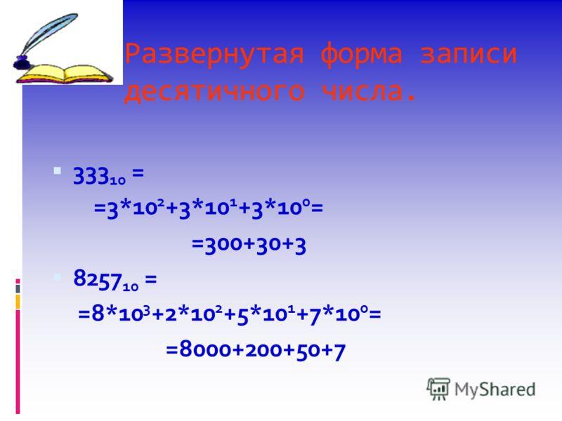 Развернутая форма записи десятичного числа. 333 10 = =3*10 2 +3*10 1 +3*10 0 = =300+30+3 8257 10 = =8*10 3 +2*10 2 +5*10 1 +7*10 0 = =8000+200+50+7