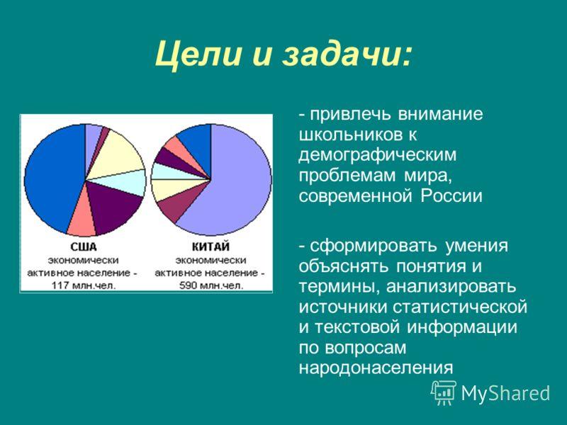 Цели и задачи: - привлечь внимание школьников к демографическим проблемам мира, современной России - сформировать умения объяснять понятия и термины, анализировать источники статистической и текстовой информации по вопросам народонаселения
