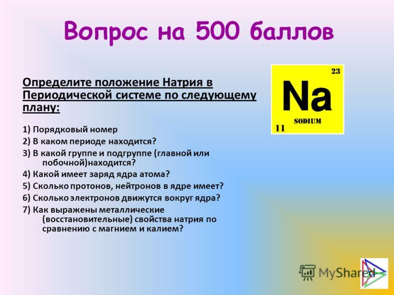 Вопрос на 500 баллов Определите положение Натрия в Периодической системе по следующему плану: 1) Порядковый номер 2) В каком периоде находится? 3) В какой группе и подгруппе (главной или побочной)находится? 4) Какой имеет заряд ядра атома? 5) Сколько