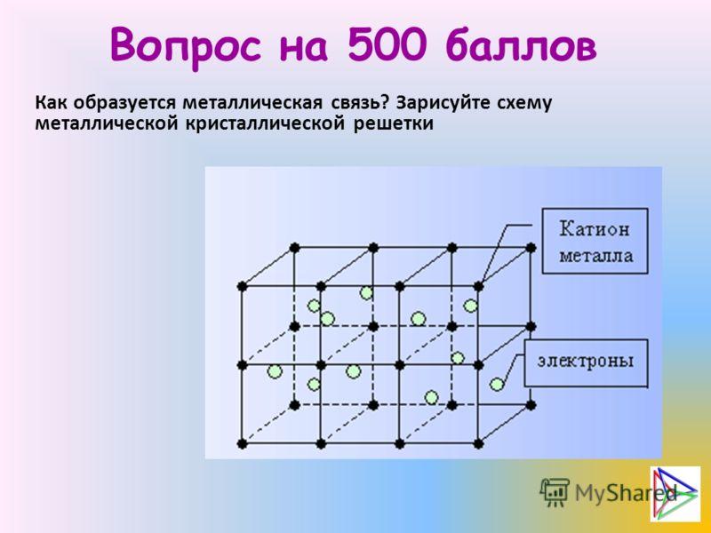 Вопрос на 500 баллов Как образуется металлическая связь? Зарисуйте схему металлической кристаллической решетки