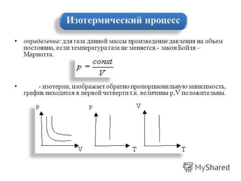 определение: для газа данной массы произведение давления на объем постоянна, если температура газа не меняется.- закон Бойля – Мариотта. - изотерма, изображает обратно пропорциональную зависимость, график находится в первой четверти т.к. величины p,V