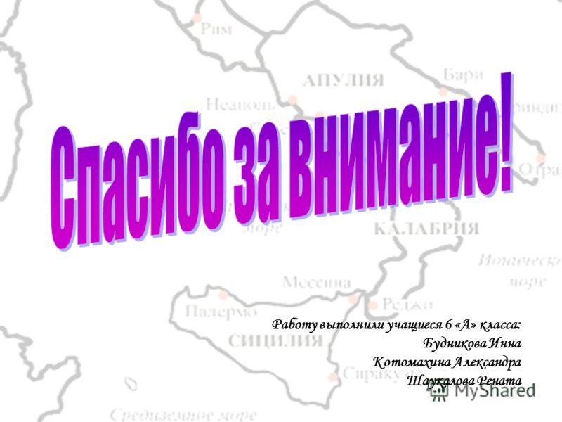 Работу выполнили учащиеся 6 «А» класса: Будникова Инна Котомахина Александра Шаукалова Рената
