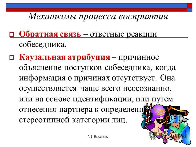 Г. Б. Вершинина16 Механизмы процесса восприятия РефлЕксия – осознание собеседником того, как он воспринимается партнером.