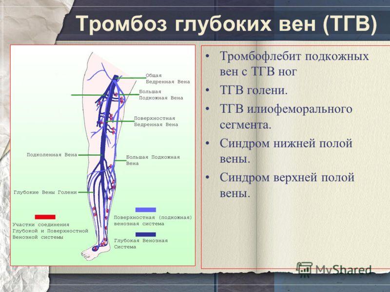 Тромбоз глубоких вен (ТГВ) Тромбофлебит подкожных вен с ТГВ ног ТГВ голени. ТГВ илиофеморального сегмента. Синдром нижней полой вены. Синдром верхней полой вены.