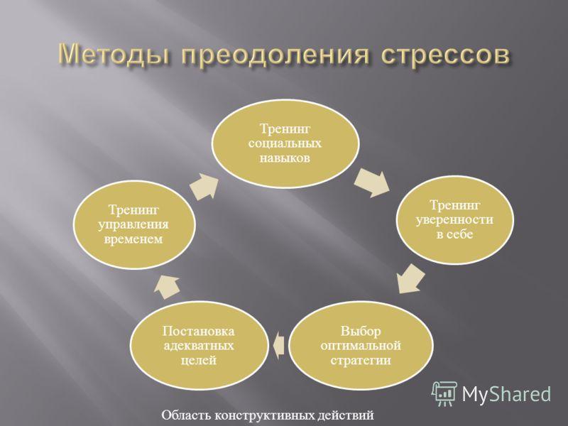 Тренинг социальных навыков Тренинг уверенности в себе Выбор оптимальной стратегии Постановка адекватных целей Тренинг управления временем Область конструктивных действий