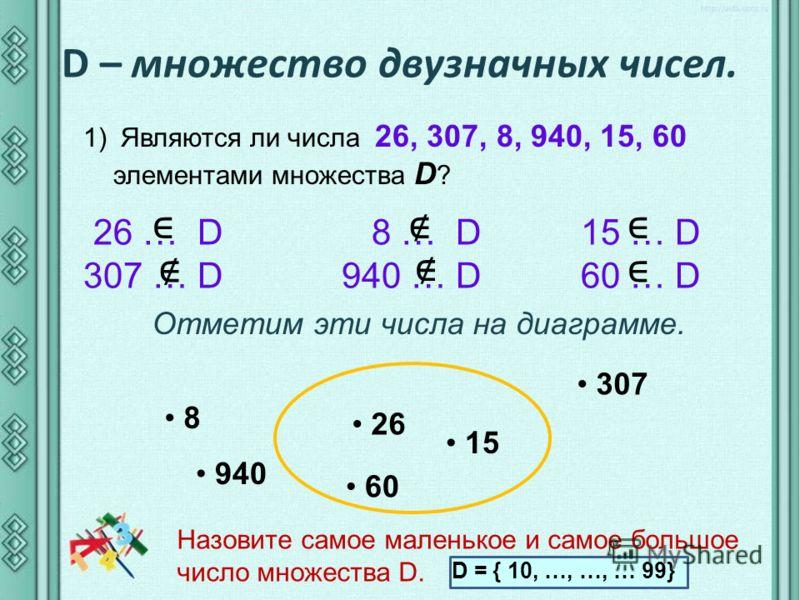 D – множество двузначных чисел. 1) Являются ли числа 26, 307, 8, 940, 15, 60 элементами множества D ? 26 … D 8 … D 15 … D 307 … D 940 … D 60 … D Отметим эти числа на диаграмме. 26 307 8 940 15 60 Назовите самое маленькое и самое большое число множест