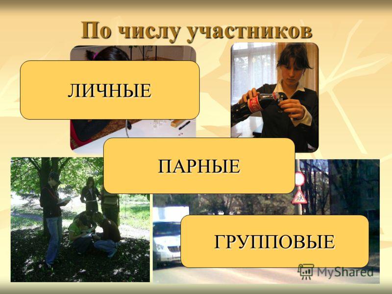 По числу участников ЛИЧНЫЕ ПАРНЫЕ ГРУППОВЫЕ