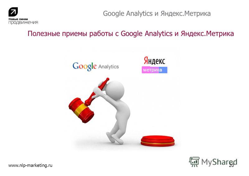 Полезные приемы работы с Google Analytics и Яндекс.Метрика www.nlp-marketing.ru20 Google Analytics и Яндекс.Метрика