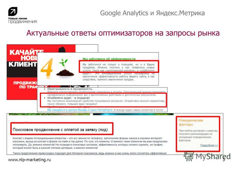 www.nlp-marketing.ru3 Актуальные ответы оптимизаторов на запросы рынка Google Analytics и Яндекс.Метрика