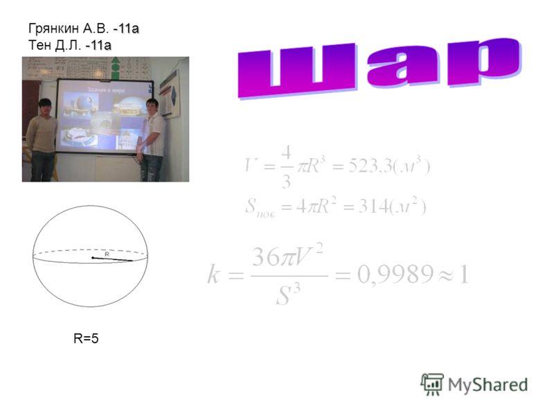 R=5 -11а Грянкин А.В. -11а -11а Тен Д.Л. -11а