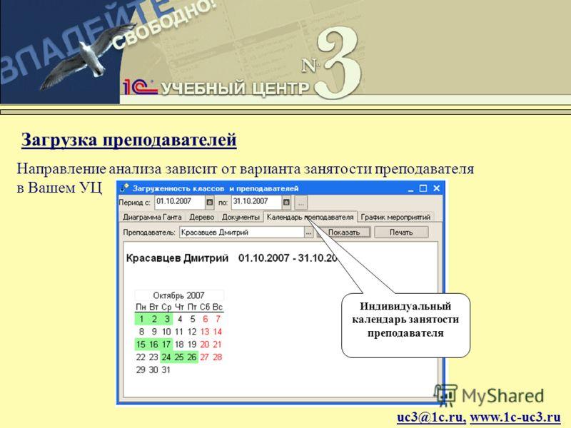 uc3@1c.ru, www.1c-uc3.ru Загрузка преподавателей Индивидуальный календарь занятости преподавателя Направление анализа зависит от варианта занятости преподавателя в Вашем УЦ