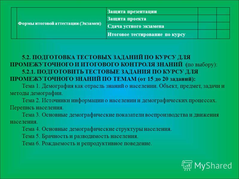 Формы итоговой аттестации (Экзамен) Защита презентации Защита проекта Сдача устного экзамена Итоговое тестирование по курсу 5.2. ПОДГОТОВКА ТЕСТОВЫХ ЗАДАНИЙ ПО КУРСУ ДЛЯ ПРОМЕЖУТОЧНОГО И ИТОГОВОГО КОНТРОЛЯ ЗНАНИЙ (по выбору): 5.2.1. ПОДГОТОВИТЬ ТЕСТО