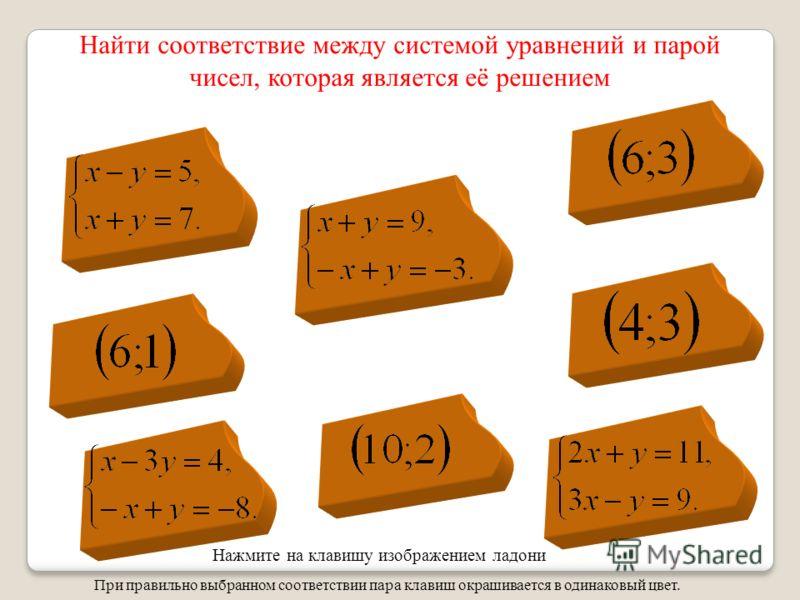 Найти соответствие между системой уравнений и парой чисел, которая является её решением При правильно выбранном соответствии пара клавиш окрашивается в одинаковый цвет. Нажмите на клавишу изображением ладони