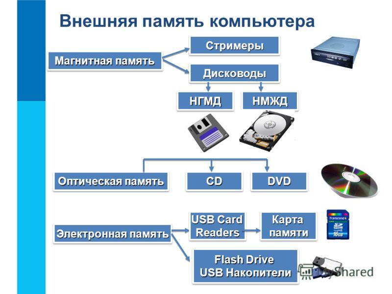 Магнитная память СтримерыСтримеры ДисководыДисководы Электронная память НГМДНГМДНМЖДНМЖД Оптическая память CDCDDVDDVD USB Card Readers ReadersКартапамятиКартапамяти Flash Drive USB Накопители Flash Drive USB Накопители Внешняя память компьютера