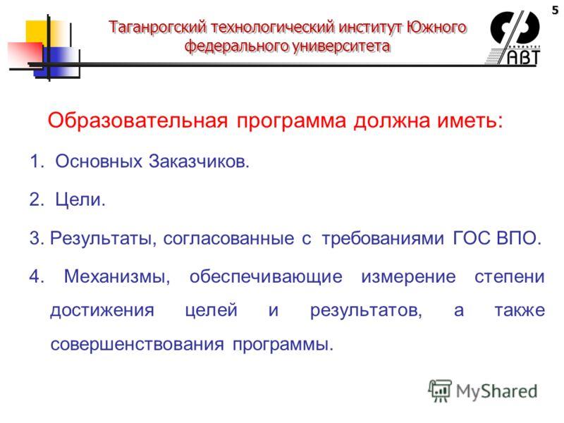 5 Таганрогский технологический институт Южного федерального университета Образовательная программа должна иметь: 1. Основных Заказчиков. 2. Цели. 3. Результаты, согласованные с требованиями ГОС ВПО. 4. Механизмы, обеспечивающие измерение степени дост