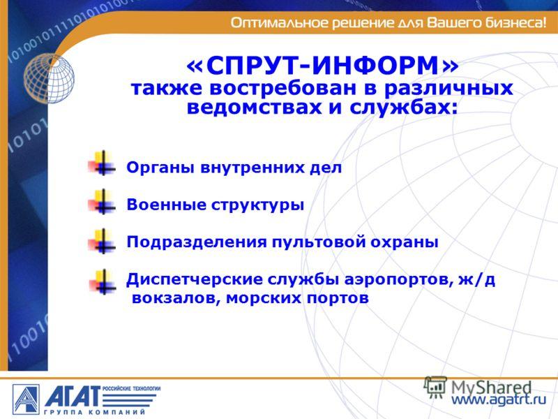 Органы внутренних дел Военные структуры Подразделения пультовой охраны Диспетчерские службы аэропортов, ж/д вокзалов, морских портов «СПРУТ-ИНФОРМ» также востребован в различных ведомствах и службах: