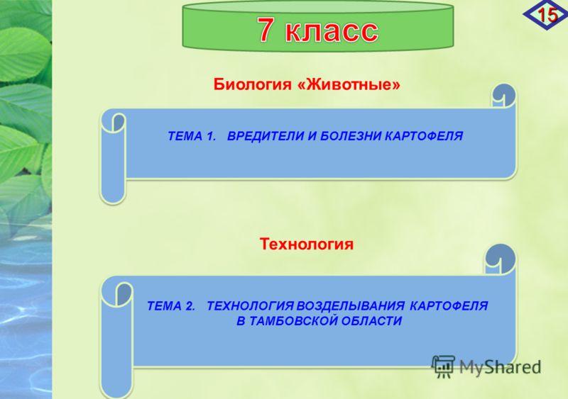 Биология «Животные» ТЕМА 1. ВРЕДИТЕЛИ И БОЛЕЗНИ КАРТОФЕЛЯ ТЕМА 1. ВРЕДИТЕЛИ И БОЛЕЗНИ КАРТОФЕЛЯ ТЕМА 2. ТЕХНОЛОГИЯ ВОЗДЕЛЫВАНИЯ КАРТОФЕЛЯ В ТАМБОВСКОЙ ОБЛАСТИ ТЕМА 2. ТЕХНОЛОГИЯ ВОЗДЕЛЫВАНИЯ КАРТОФЕЛЯ В ТАМБОВСКОЙ ОБЛАСТИ Технология 15