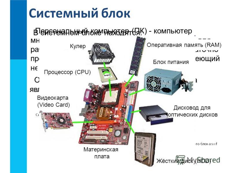 Системный блок Персональный компьютер (ПК) - компьютер многоцелевого назначения, предназначенный для работы одного человека (пользователя), достаточно простой в использовании и обслуживании, имеющий небольшие размеры и доступную стоимость. Основной ч