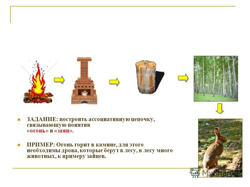 ЗАДАНИЕ: построить ассоциативную цепочку, связывающую понятия «огонь» и «заяц». ПРИМЕР: Огонь горит в камине, для этого необходимы дрова, которые берут в лесу, в лесу много животных, к примеру зайцев.