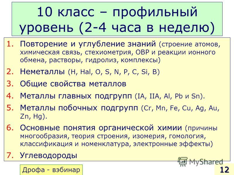 10 класс – профильный уровень (2-4 часа в неделю) 1.Повторение и углубление знаний (строение атомов, химическая связь, стехиометрия, ОВР и реакции ионного обмена, растворы, гидролиз, комплексы) 2.Неметаллы (H, Hal, O, S, N, P, C, Si, B) 3.Общие свойс