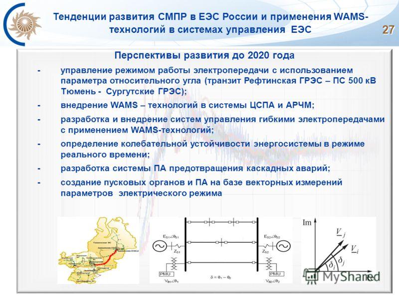 27 Тенденции развития СМПР в ЕЭС России и применения WAMS- технологий в системах управления ЕЭС Перспективы развития до 2020 года -управление режимом работы электропередачи с использованием параметра относительного угла (транзит Рефтинская ГРЭС – ПС