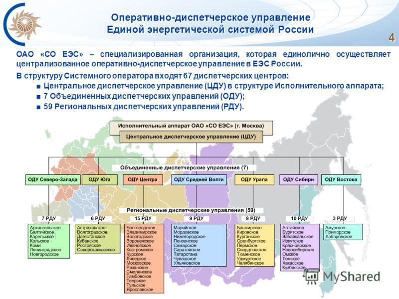 4 Оперативно-диспетчерское управление Единой энергетической системой России ОАО «СО ЕЭС» – специализированная организация, которая единолично осуществляет централизованное оперативно-диспетчерское управление в ЕЭС России. В структуру Системного опера
