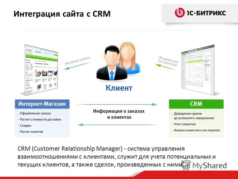 CRM (Customer Relationship Manager) - система управления взаимоотношениями с клиентами, служит для учета потенциальных и текущих клиентов, а также сделок, произведенных с ними. Интеграция сайта с CRM