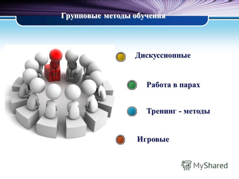 Групповые методы обучения Дискуссионные Работа в парах Тренинг - методы Игровые