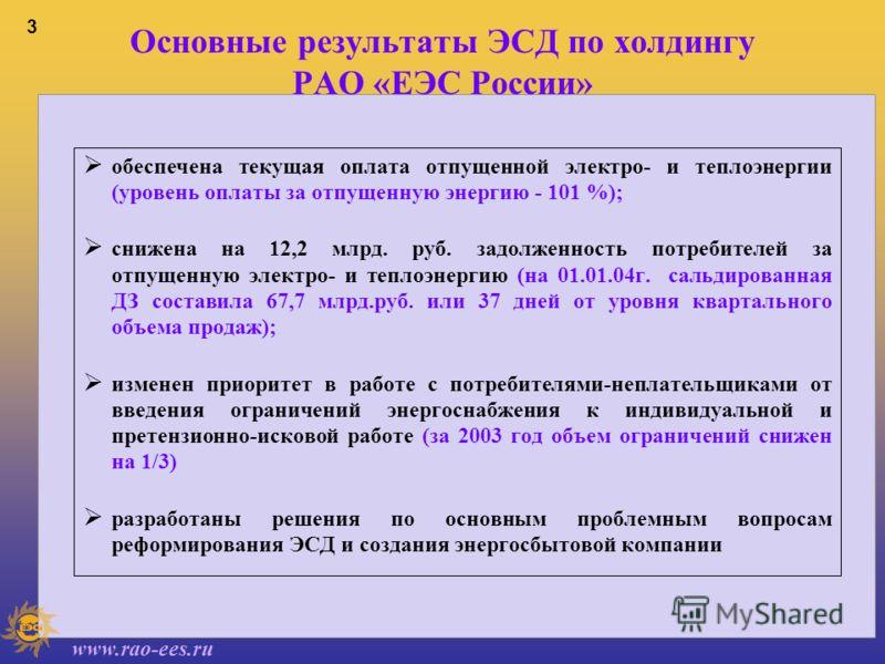 www.rao-ees.ru 2 Задачи, решаемые в 2003 году Обеспечение надежного и бесперебойного энергоснабжения потребителей, своевременно оплачивающих текущее потребление и погашающих ранее накопленную задолженность за энергию Повышение ликвидности дебиторской