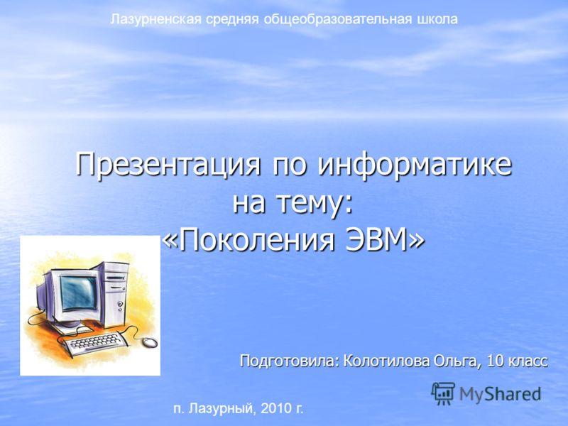темы презентаций по информатике: