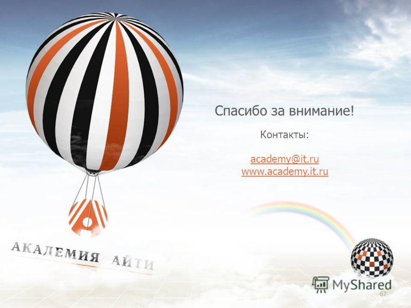 Спасибо за внимание! Контакты: academy@it.ru www.academy.it.ru 67