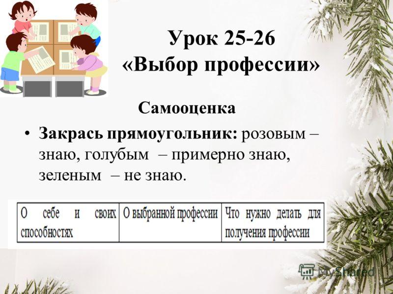 Урок 25-26 «Выбор профессии» Самооценка Закрась прямоугольник: розовым – знаю, голубым – примерно знаю, зеленым – не знаю.