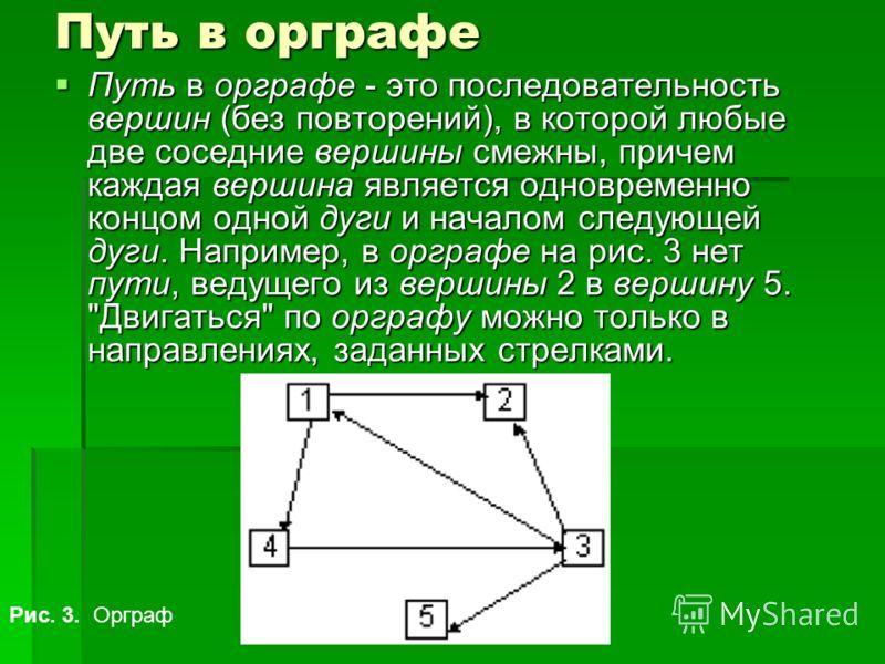 Путь в орграфе Путь в орграфе - это последовательность вершин (без повторений), в которой любые две соседние вершины смежны, причем каждая вершина является одновременно концом одной дуги и началом следующей дуги. Например, в орграфе на рис. 3 нет пут