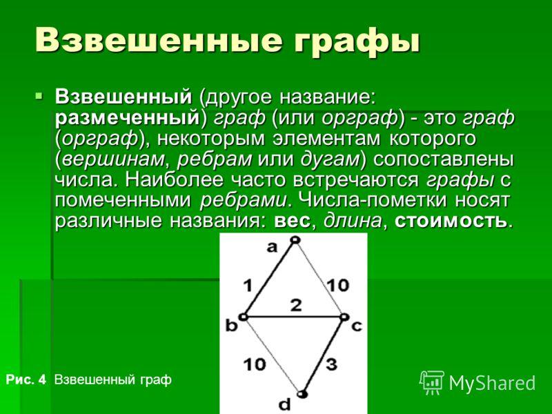 Взвешенные графы Взвешенный (другое название: размеченный) граф (или орграф) - это граф (орграф), некоторым элементам которого (вершинам, ребрам или дугам) сопоставлены числа. Наиболее часто встречаются графы с помеченными ребрами. Числа-пометки нося
