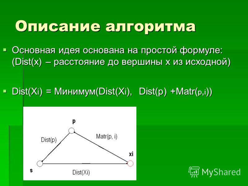 Описание алгоритма Основная идея основана на простой формуле: (Dist(x) – расстояние до вершины x из исходной) Основная идея основана на простой формуле: (Dist(x) – расстояние до вершины x из исходной) Dist(X i ) = Минимум(Dist(X i ), Dist(p) +Matr( p